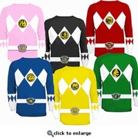 The Power Rangers Long Sleeve Ranger Costume T-shirt - Power Rangers - Free Shipping on orders over $60 | TV Store Online