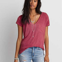 AEO Soft & Sexy V-Neck Pocket T-Shirt, Wine
