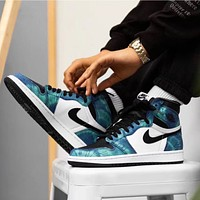 Tie-dye high-top sneakers pig laser fall leisure sports basketball shoes sneakers sports shoes