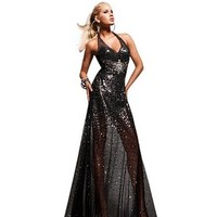Tony Bowls Halter Long Dress 113734, Black, 8