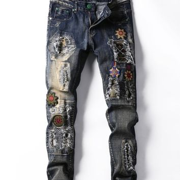 Winter Ripped Holes Men Vintage Embroidery Stretch Slim Jeans [3444984610909]
