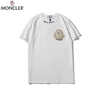 MONCLER 2019 new chest embroidery logo round neck half sleeve t-shirt white