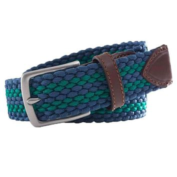 Braided Elastic Striped Web Belt in Augusta Green by Southern Tide