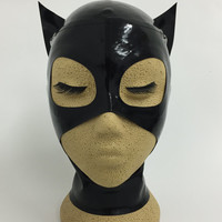 Lady Lucie Latex Catwoman Inspired Hood / Mask Open Mouth