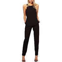 2016 Summer Elegant Women's Rompers Jumpsuit Casual Solid Bodysuit Sleeveless Crew Neck Long Playsuits Plus Size