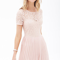 FOREVER 21 Pleated Lace Combo Dress Blush
