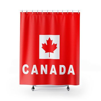 Canada Flag Shower Curtain with Word