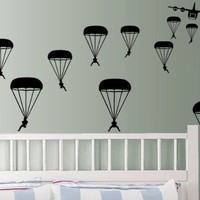 StikEez Black Military Paratroopers 12-Pack Wall Decals