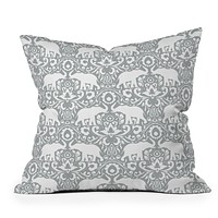 Jacqueline Maldonado Elephant Damask Paloma Throw Pillow