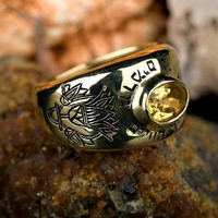 Men's Kabbalah Rings - Lotus ring gold Turquoise