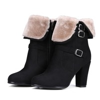 Fur Buckle Ankle Boots with High Heels