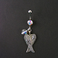 Angel Wings & Sparkly Aurora Borealis Belly Button Ring 14g 316L  ~  Navel Body Piercing Jewelry Teen Women