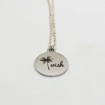 Silver Wish Necklace - Dandelion Charm Necklace - Dandelion Necklace - Wish Necklace - Wish Jewelry - Wish Charm - Stainless Steel Charm