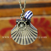 lovely shell pocket watch necklace, with a ship rudder,a Navy stripes beads,vintage style