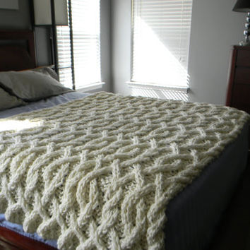 Cable Me Crazy Chunky Cable Knit Blanket - Made to order - Ships out in 20 days