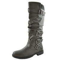 Womens Knee High Boots Strappy Ruched Leather Adjustable Buckles Gray