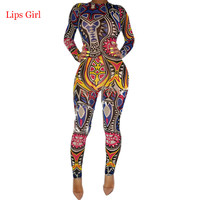 Women Jumpsuit Long Pants 2016 Summer Overalls Digital Color Printing Sexy Club Elegant Bandage Bodycon Rompers Womens Jumpsuit