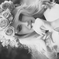 black and white, cute, flowers, girl - inspiring picture on Favim.com