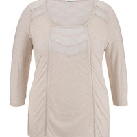 Plus Size - 3/4 Sleeve Lace Inset Peasant Top - Beige