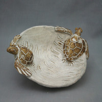 Nautical Ceramic Double Sea Turtle Bowl by Shayne Greco Beautiful Shabby Chic Mediterranean Sculpture Pottery