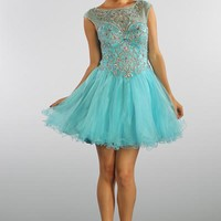 Short Prom Dress with Sheer Back in Aqua