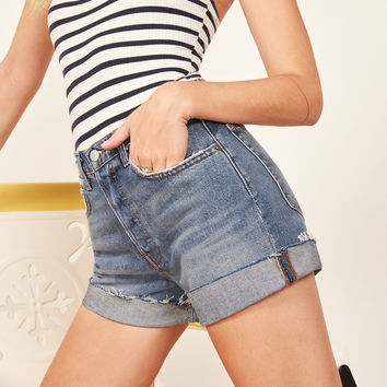 Lola High Rise Jean Short With Cuff