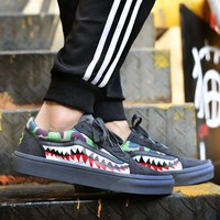 spbest Vans X Bape Sharktooth Camo Custom 23 All Black-1