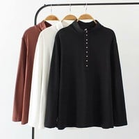 Plus size white & black & brown button women T-shirts 2018 casual autumn winter tshirt turtleneck long sleeve ladies tops 4XL