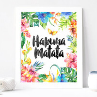 Hakuna Matata Printable poster, Nursery poster,Wall Decor Inspirational Quote, Download, Summer poster, Hawaii poster, Colorful Poster