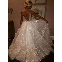 Women Simple Sequin Glitter Double Deep V-neck Backless Prom Evening Party Maxi Dress