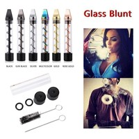 New Design 2 Series Smoking Twisty Glass Blunt Pipe Obsolete With Cleaning Kit