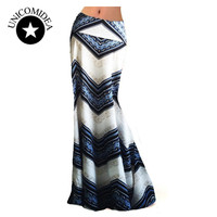 2018 European Style Women Summer Maxi Boho Skirt Long Length High Thin Waist Slim Sexy Beach Skirt Trumpet Mermaid Skirt S-XXXL