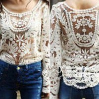 Women's Beige Embroidered  Lace Sheer Top T-shirt