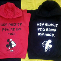 Hey Mickey Hey Minnie Kissing Cuties Couples Hoodies