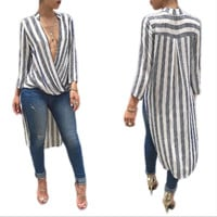 New fall striped V-neck long-sleeved dress