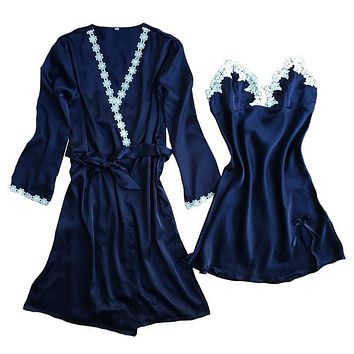 New Sale Women Luxury Design Sexy Dress Nightgown Embroidery Pajama Set