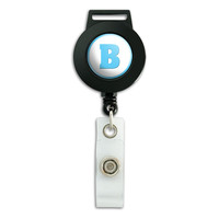 Letter B Initial Baby Boy Block Font Blue Shower Retractable Badge Card ID Holder