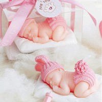 10pcs Pink Cute Sleeping Baby Candle For Wedding Party Baby Shower Birthday Souvenirs Gifts Favor