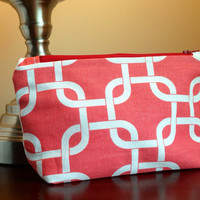 Makeup cosmetic bag zipper pouch clutch  red by BlueBearDesigns