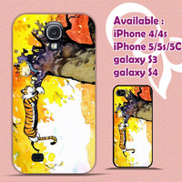 Calvin and Hobbes Galaxy hf Design for iPhone 4/4s/5/5s/5c, Samsung Galaxy S3/S4 Case