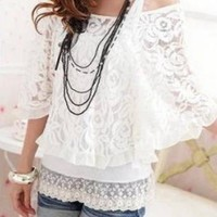 SEXY 2-PIECE LACE SUMMER STYLE BLOUSE