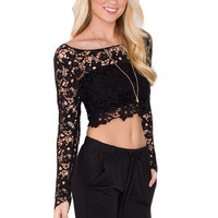 Eve Lace Crop Top - Black