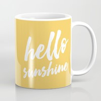 Hello Sunshine - typography Mug by Allyson Johnson | Society6