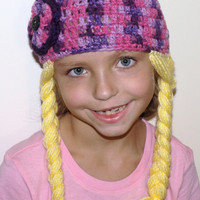 Crochet hat with attached braids- yarn hair- costume accessories- photo prop