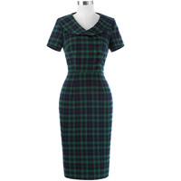 Belle Poque Summer Women Office Pencil Dress Ladies Plaid Sexy Bodycon Tunic Elegant Slim Retro Vintage Sheath Work Wear Dresses