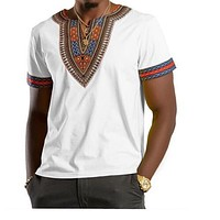 WHITE AFRICAN DASHIKI MEN'S SHIRT