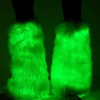 Green Electric Styles LED Light Up Fluffies : Glowing Fluffy Leg Warmers