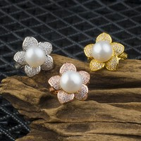New Arrival Gift Shiny Jewelry 925 Silver Pearls Stylish Floral Accessory Ring [7204782279]