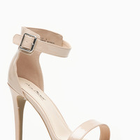 Anne Michelle Single Sole Glossy Nude Strappy Heels