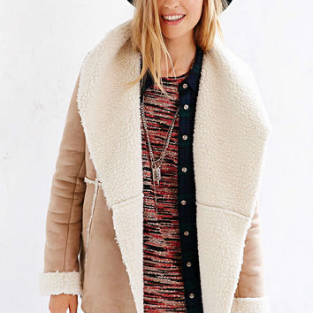 Beige Fur Lapel Coat